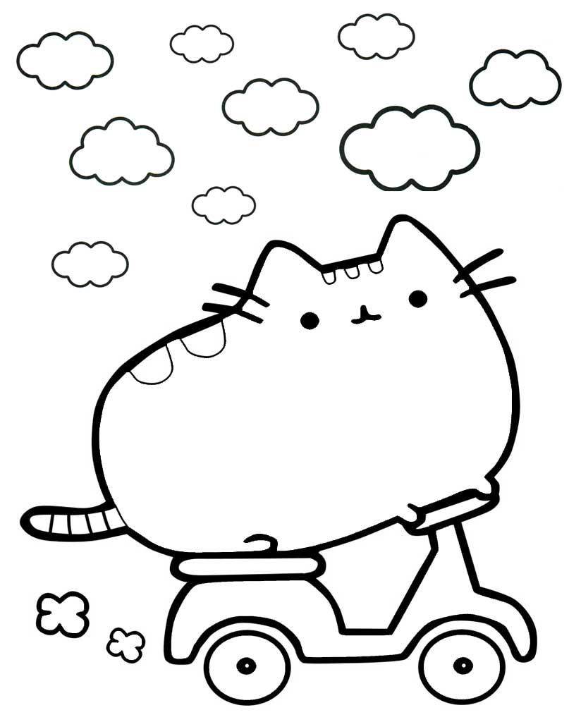 Pusheen na rowerku do kolorowania
