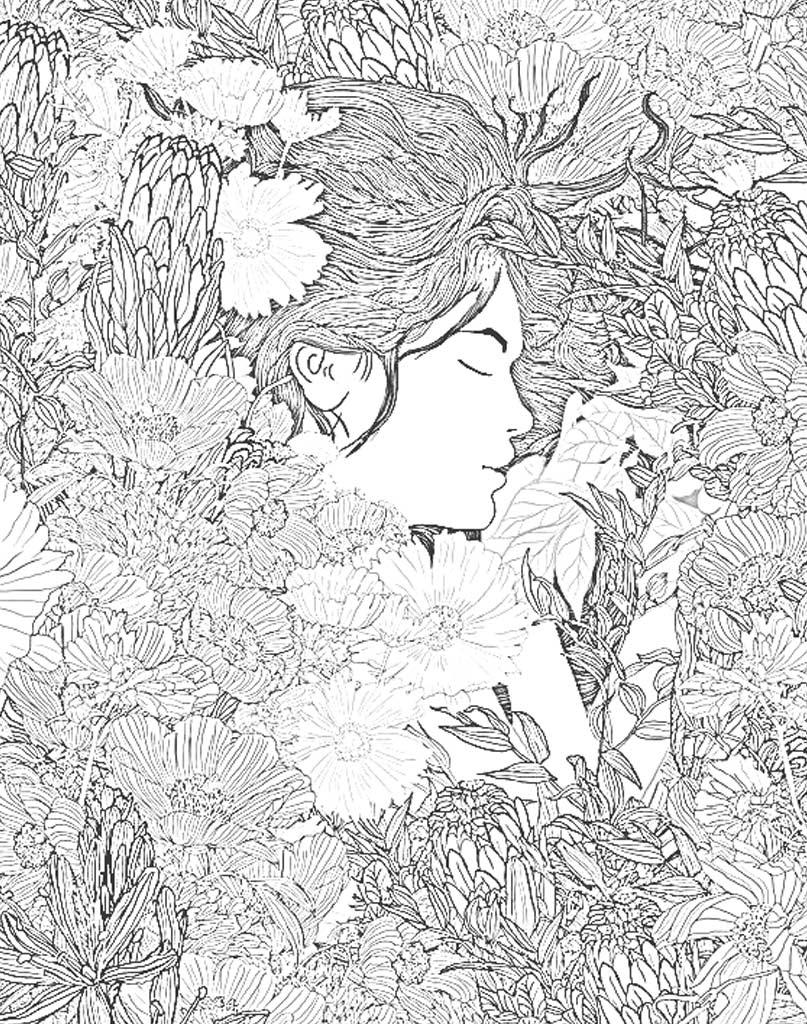 Szczegółowa mandala z twarzą kobiety i kwiatami