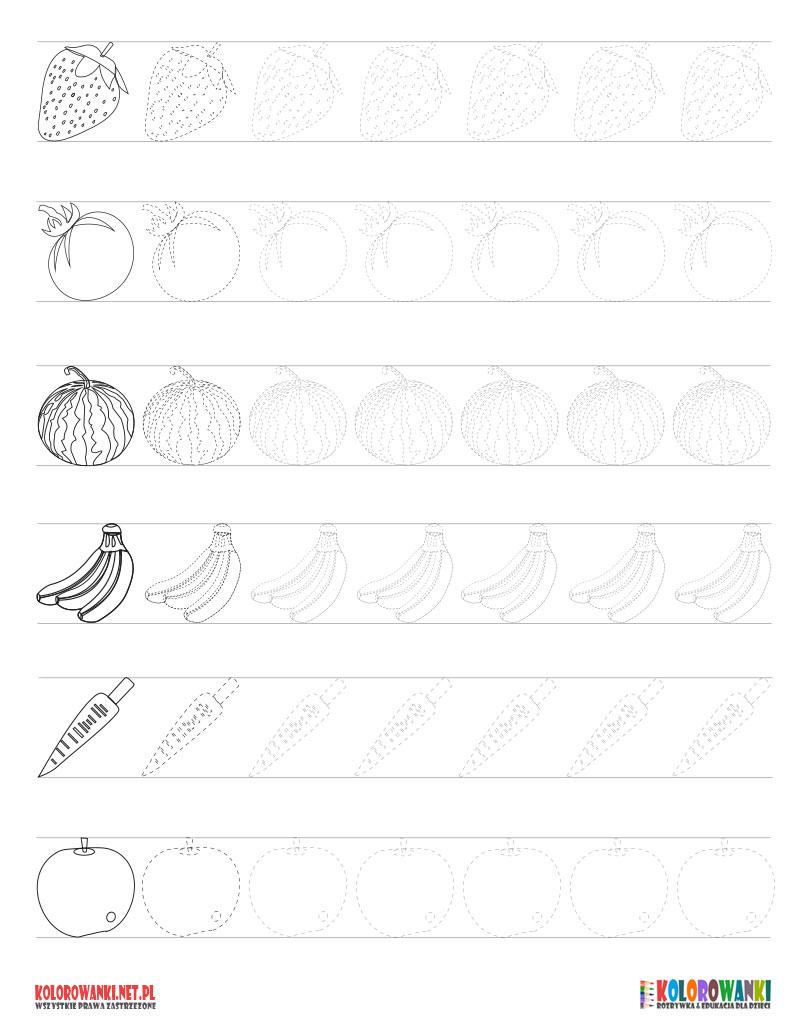 Szlaczki z owocami i warzywami do druku