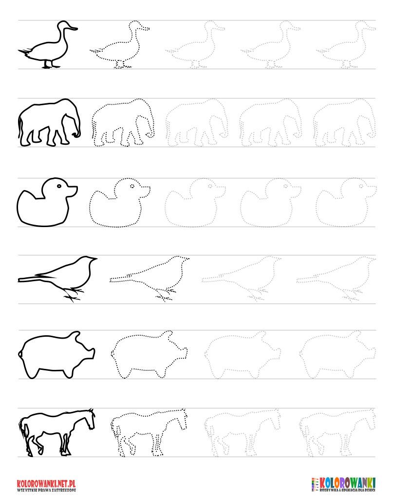 Szlaczki ze zwierzętami do wydruku