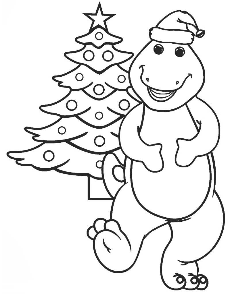 Dinozaur Barney w świątecznej kolorowance dla dzieci