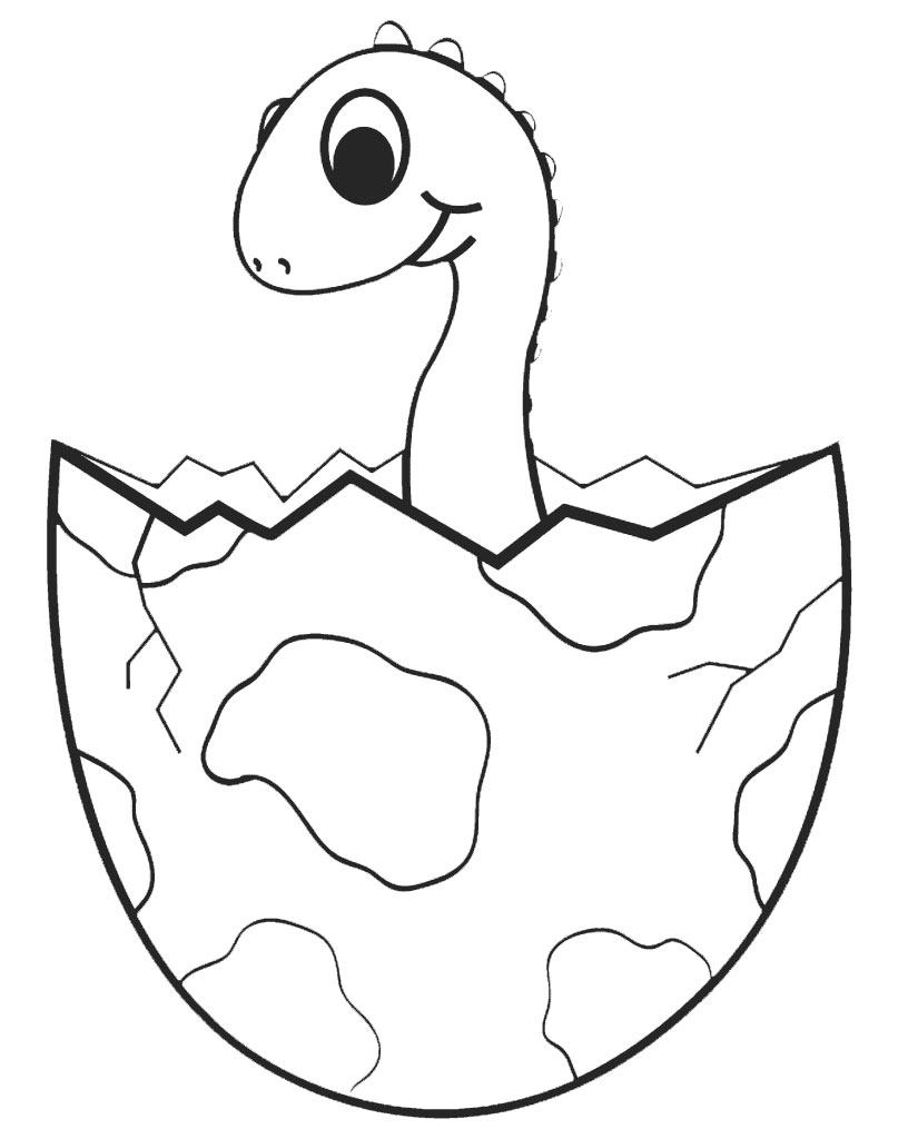Kolorowanka z dinozaurem wykluwającym się z jajka