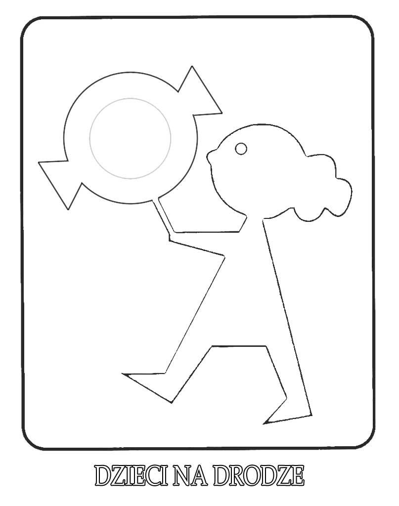 Znak drogowy Agatka dzieci na drodze kolorowanka