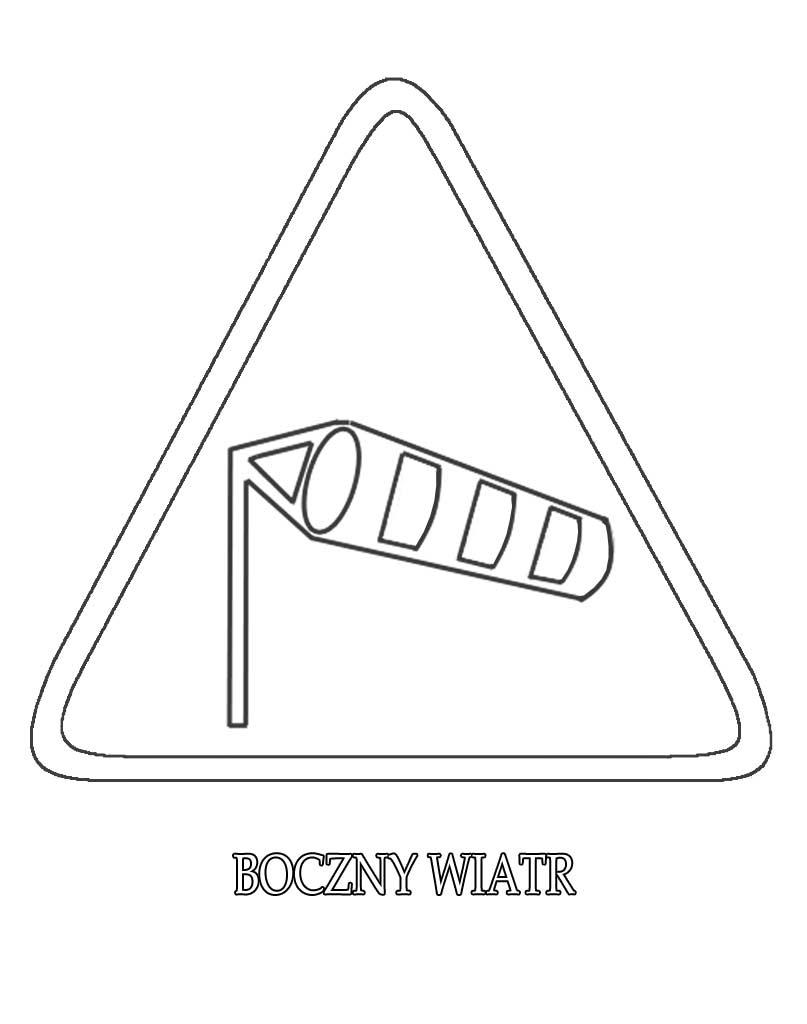 Znak drogowy boczny wiatr kolorowanka do druku