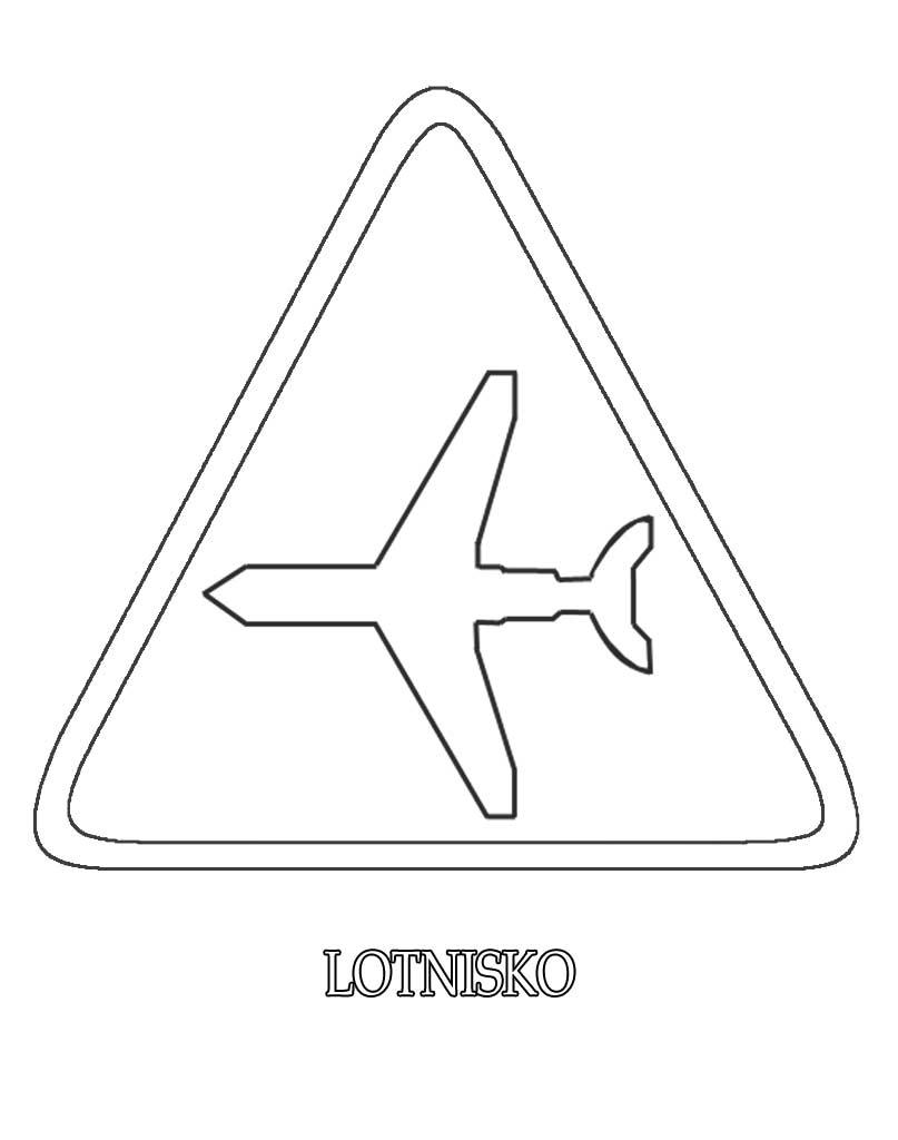 Znak drogowy lotnisko kolorowanka