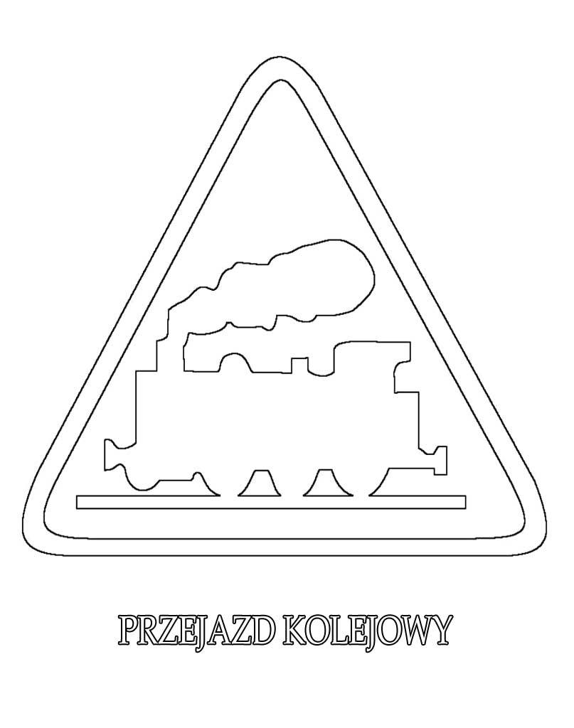 Znak drogowy przejazd kolejowy kolorowanka