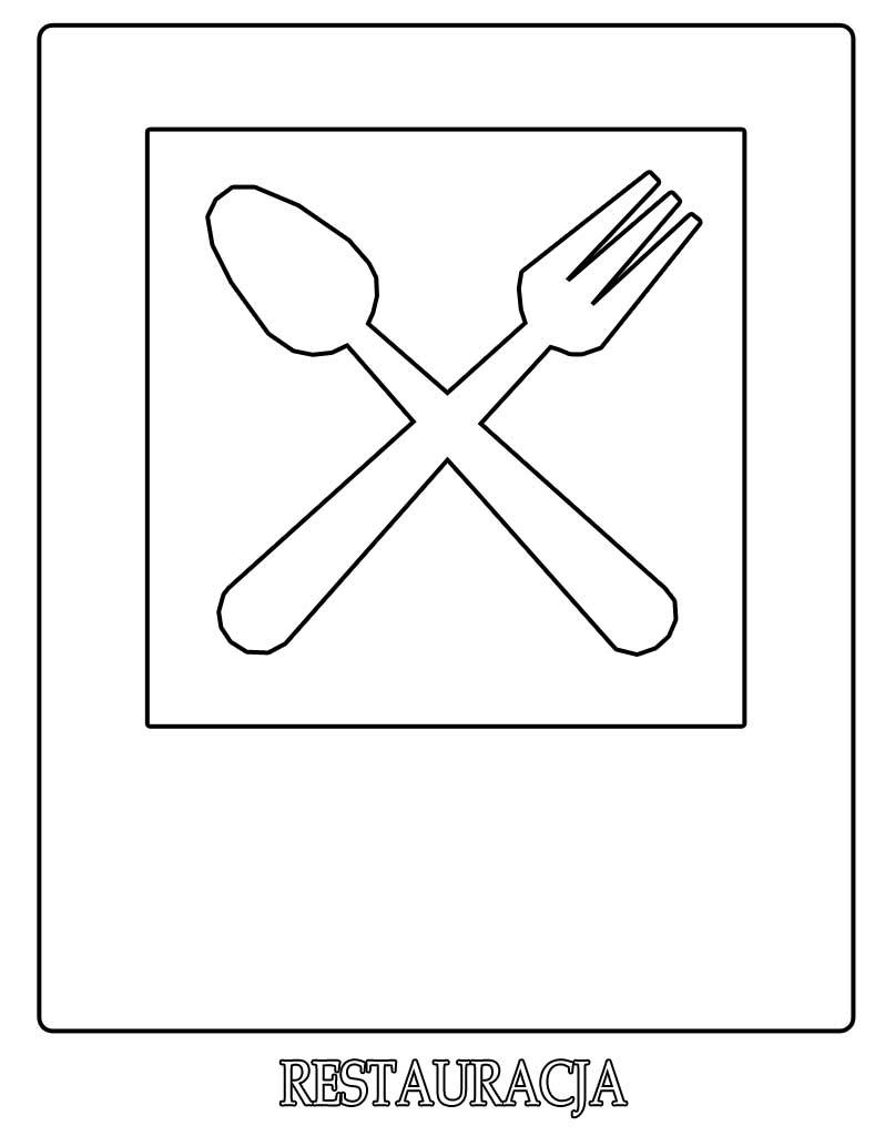 Znak drogowy restauracja kolorowanka