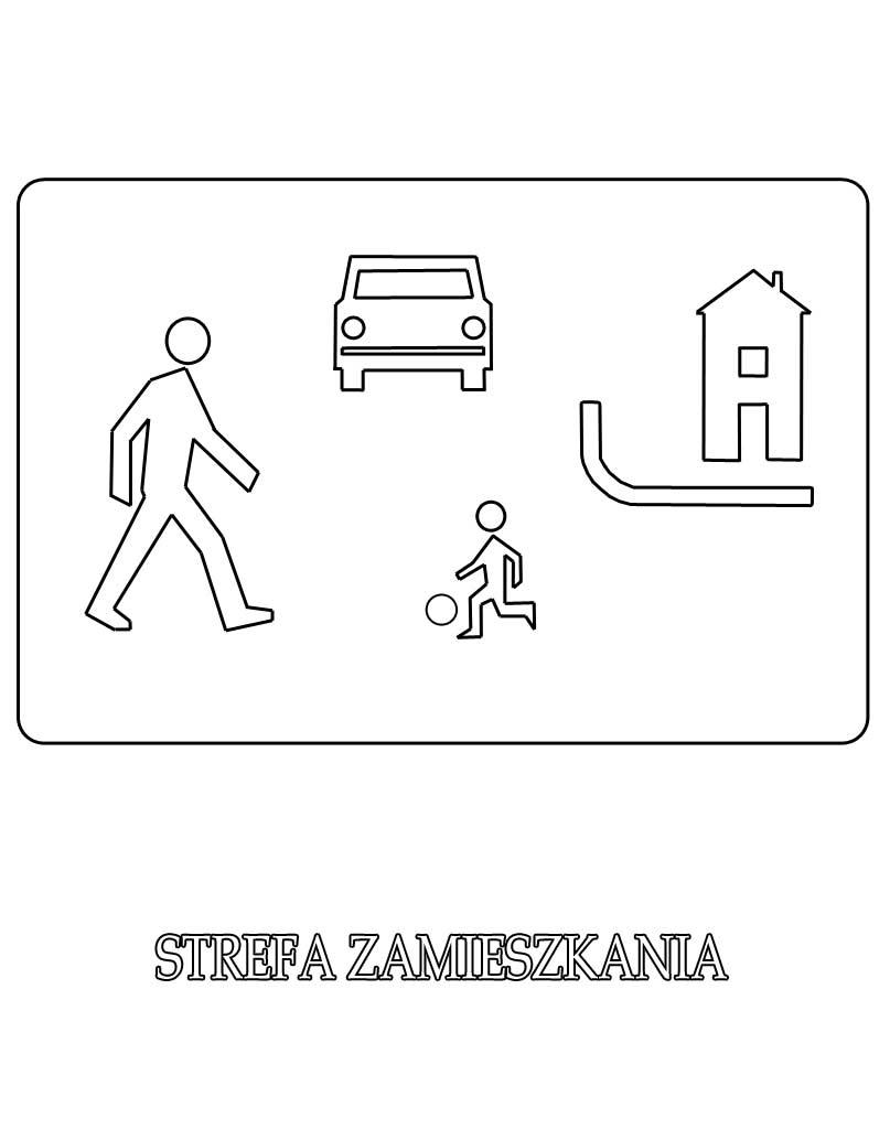 Znak drogowy strefa zamieszkania kolorowanka