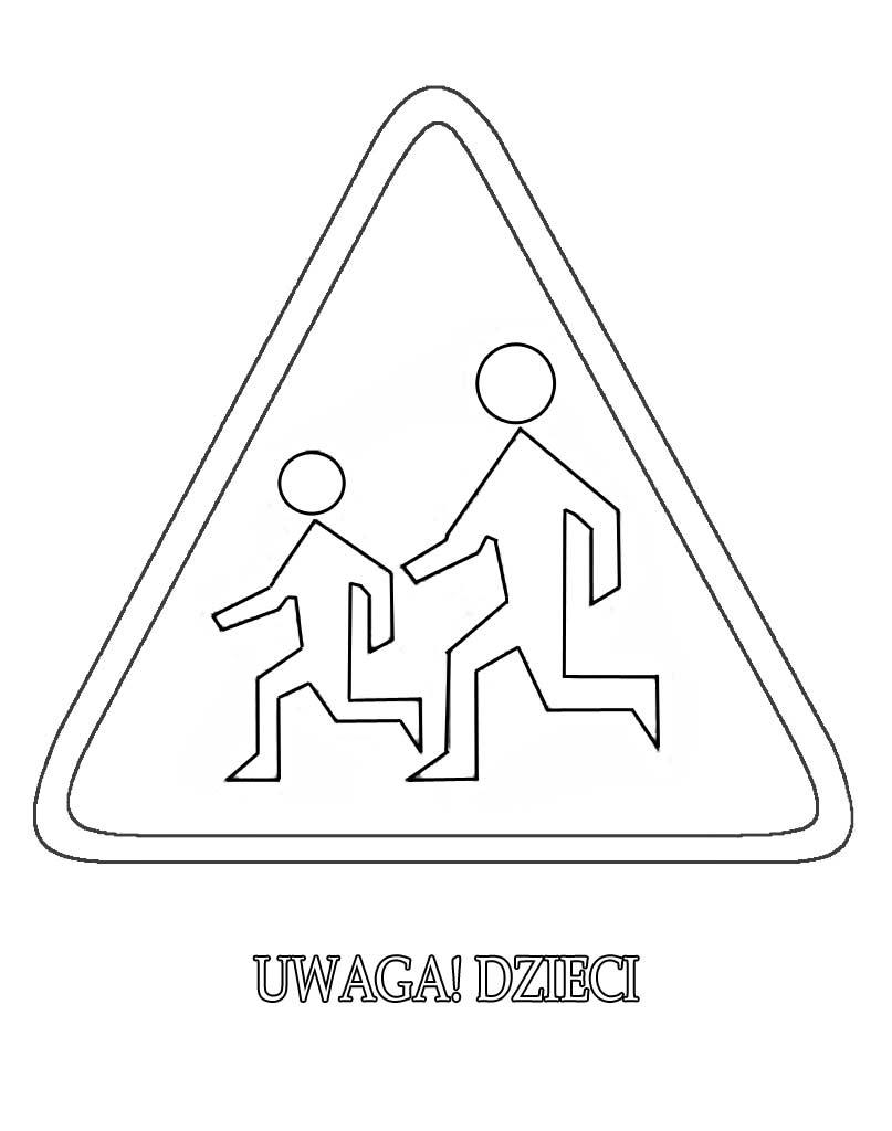 Znak drogowy uwaga dzieci kolorowanka do druku