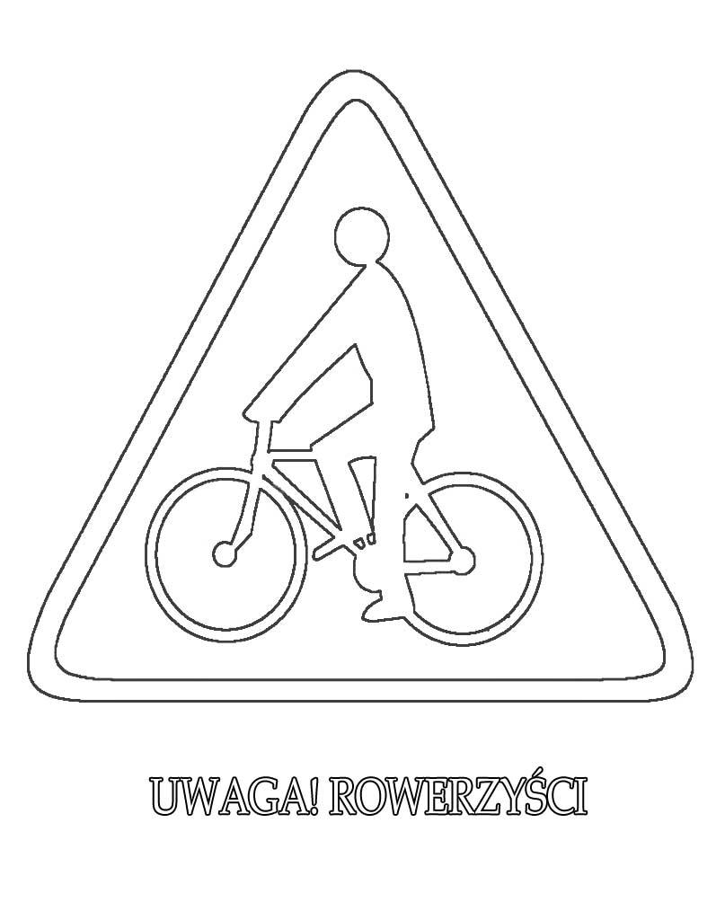 Znak drogowy uwaga rowerzyści kolorowanka