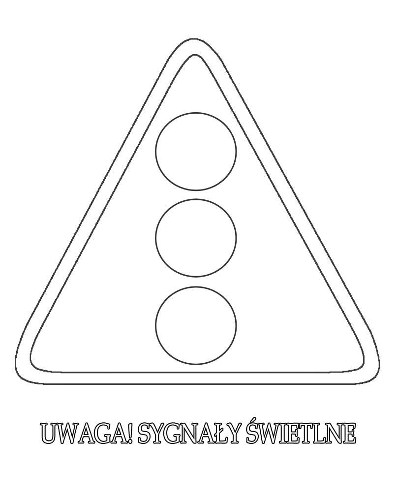 Znak drogowy uwaga sygnały świetlne do wydruku
