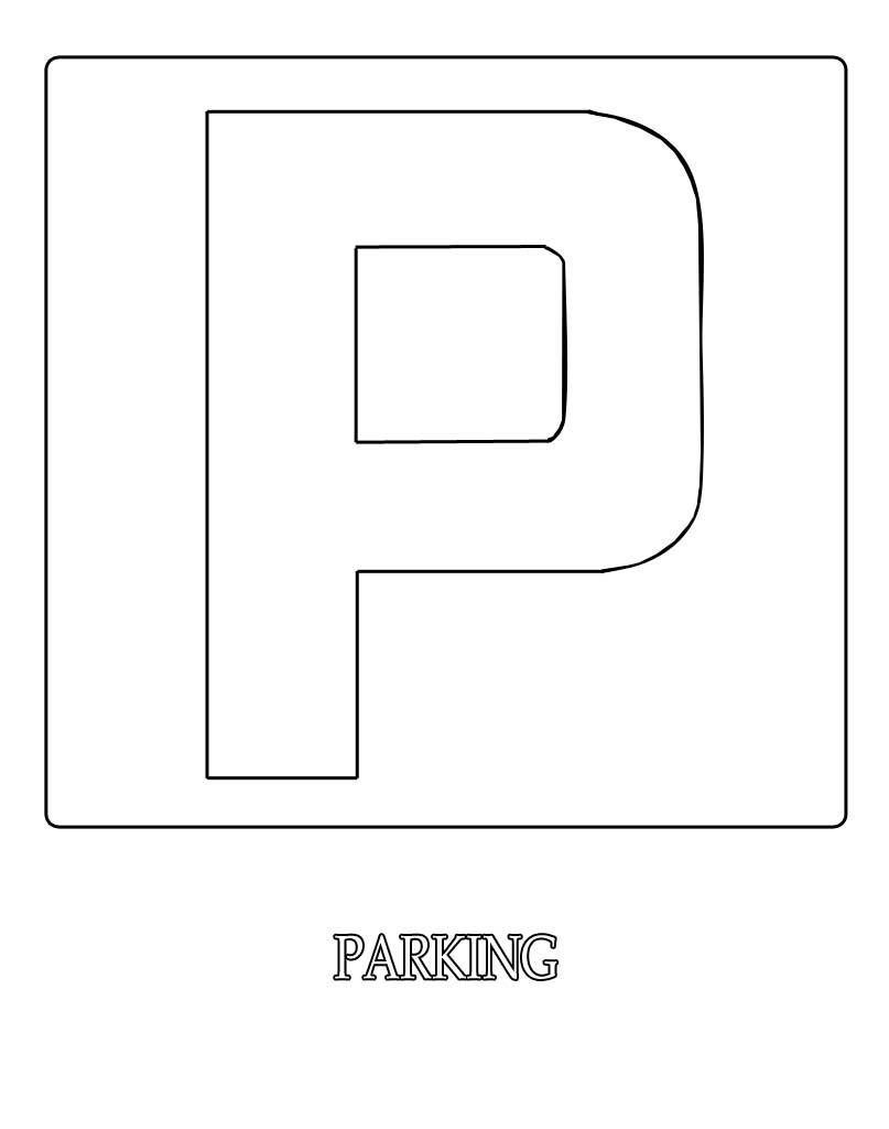 Znak parking kolorowanka do wydruku