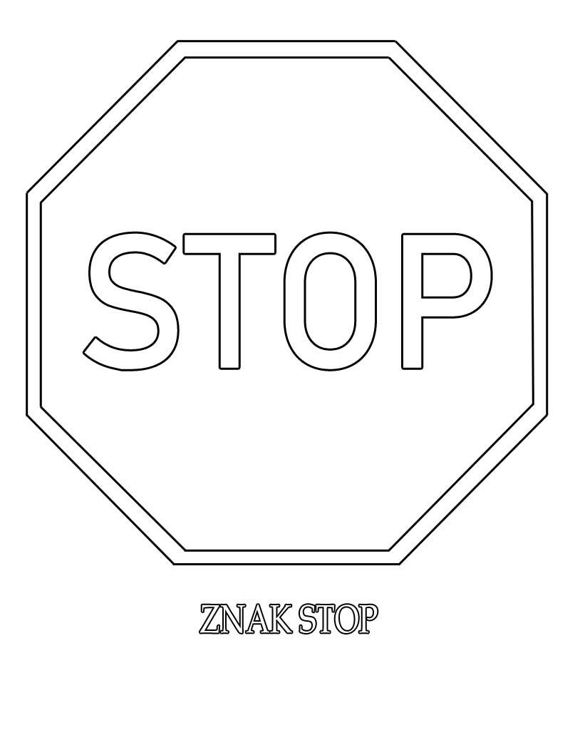 Znak drogowy stop kolorowanka