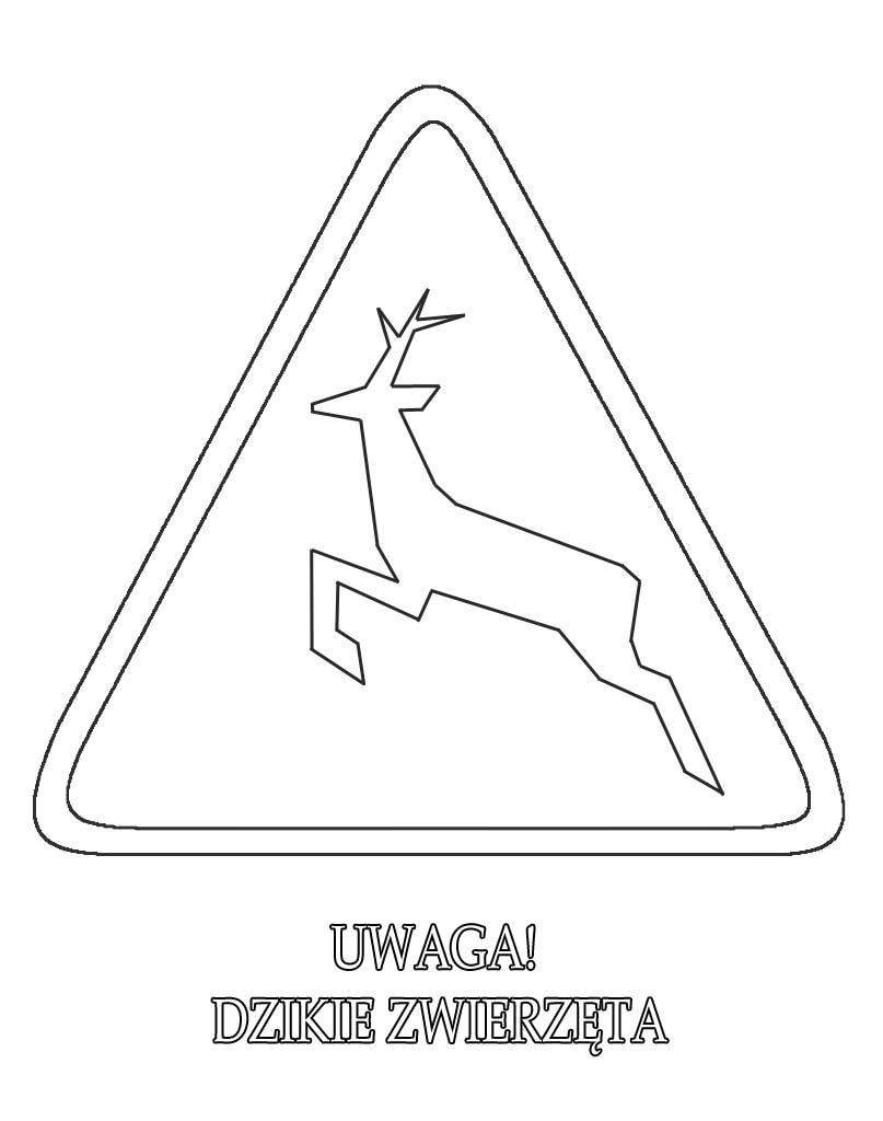 Znak drogowy uwaga dzikie zwierzęta kolorowanka