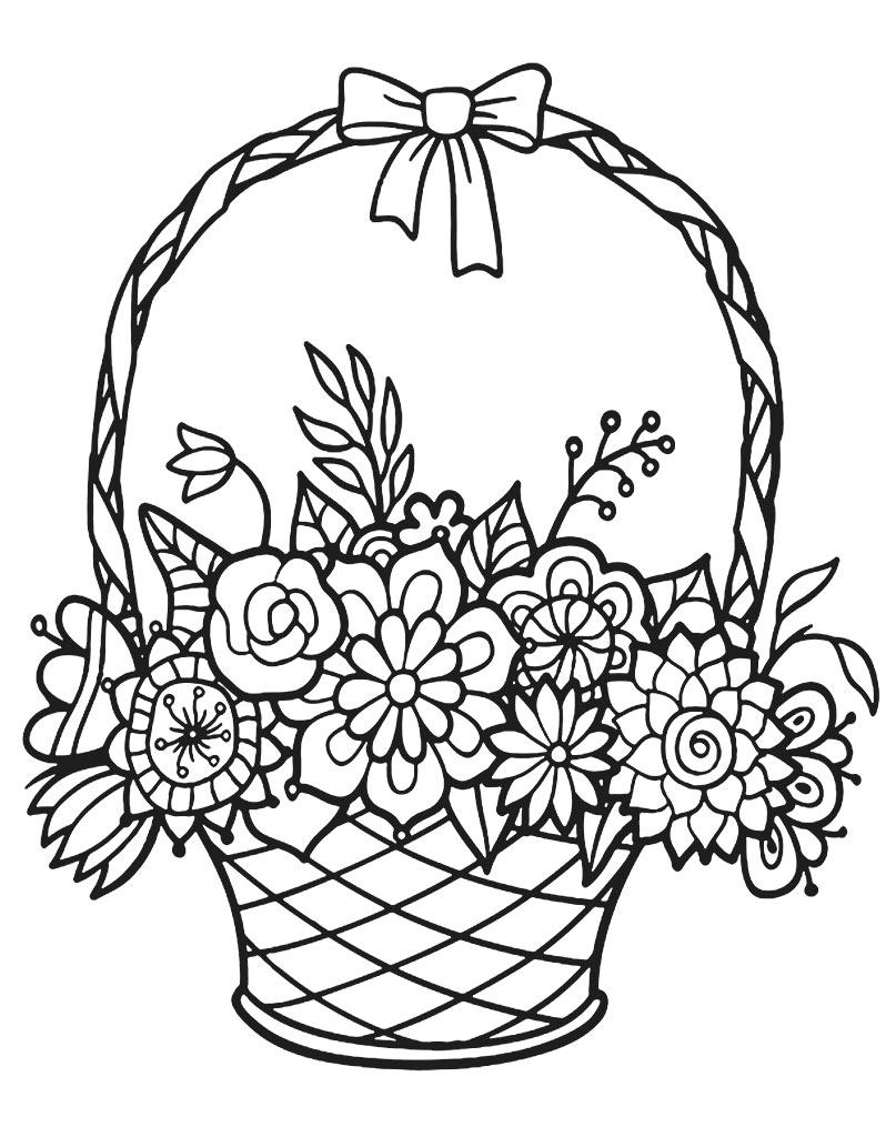 Bukiet kwiatów kolorowanka do druku