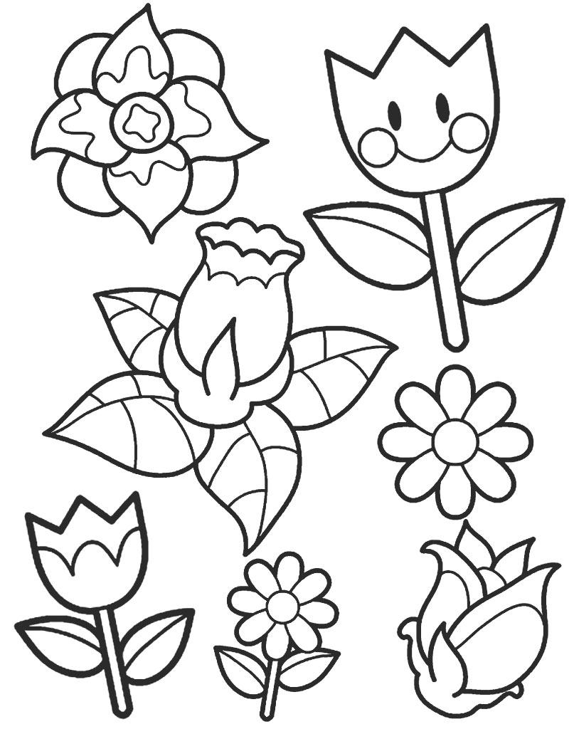 Zestaw kolorowanek z kwiatami do wydruku