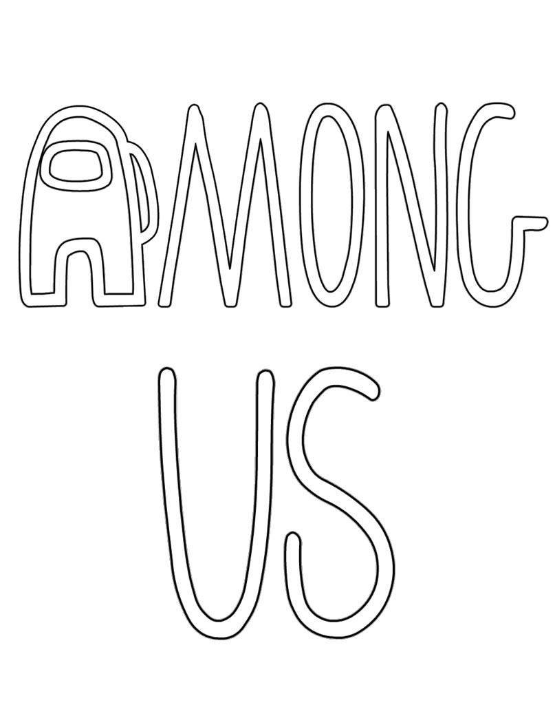 Among Us logo kolorowanka do druku