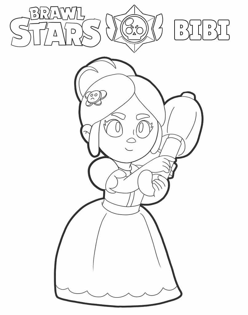 Bibi Brawl Stars rysunek dla dzieci