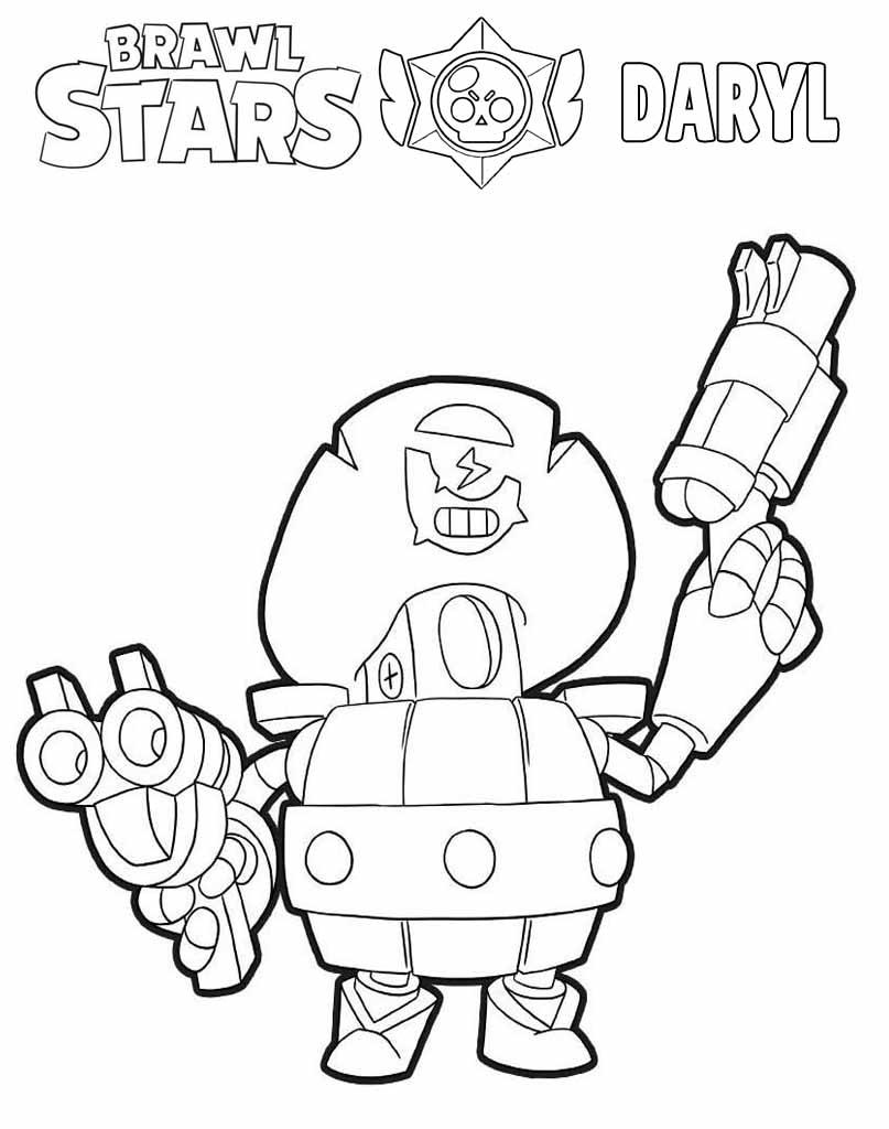 Brawl Stars Daryl kolorowanka dla dzieci