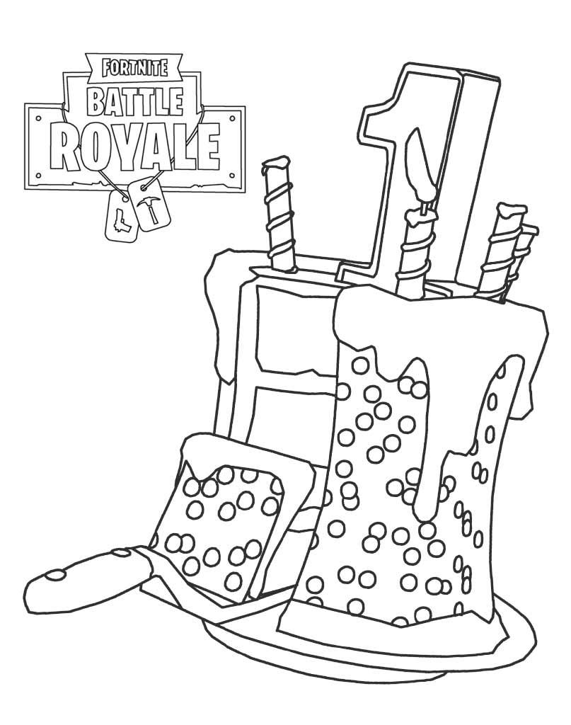 Kolorowanka Tort Fortnite 1st pierwsze miejsce