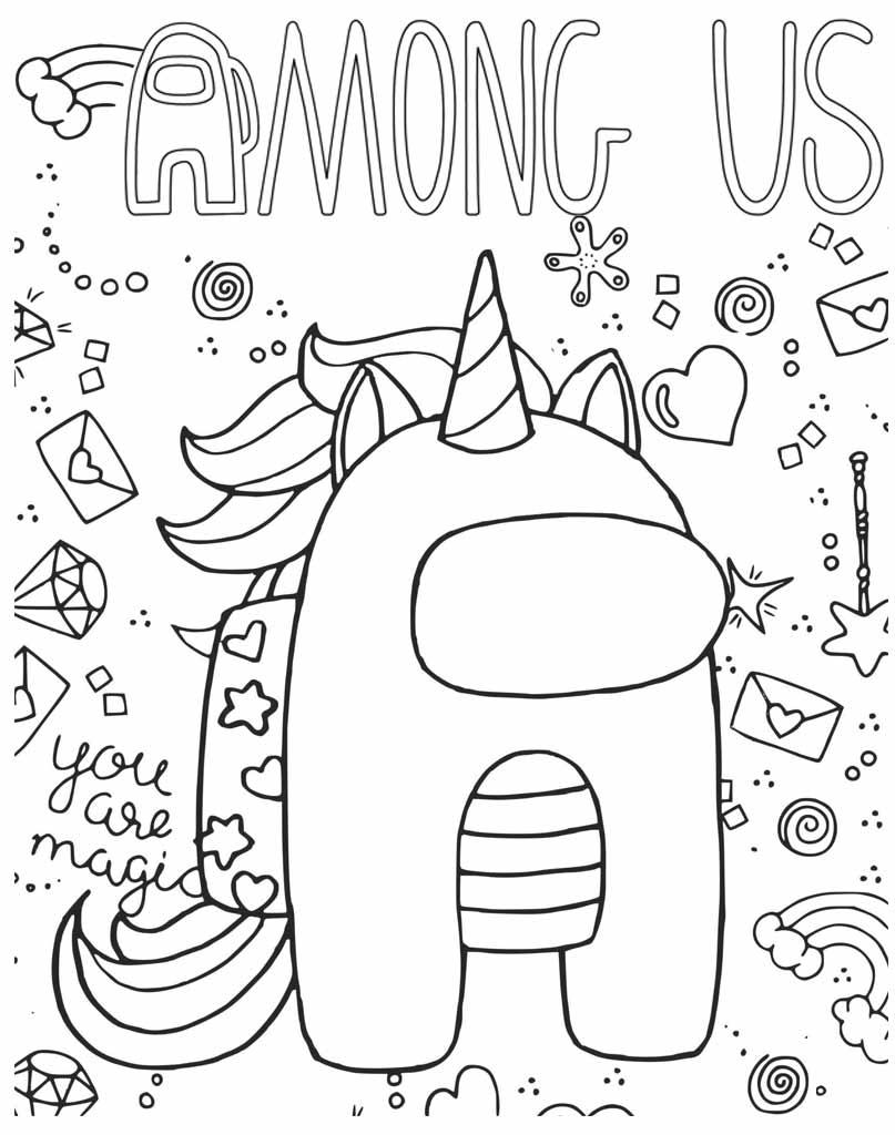Kolorowanka Unicorn Among Us do wydruku