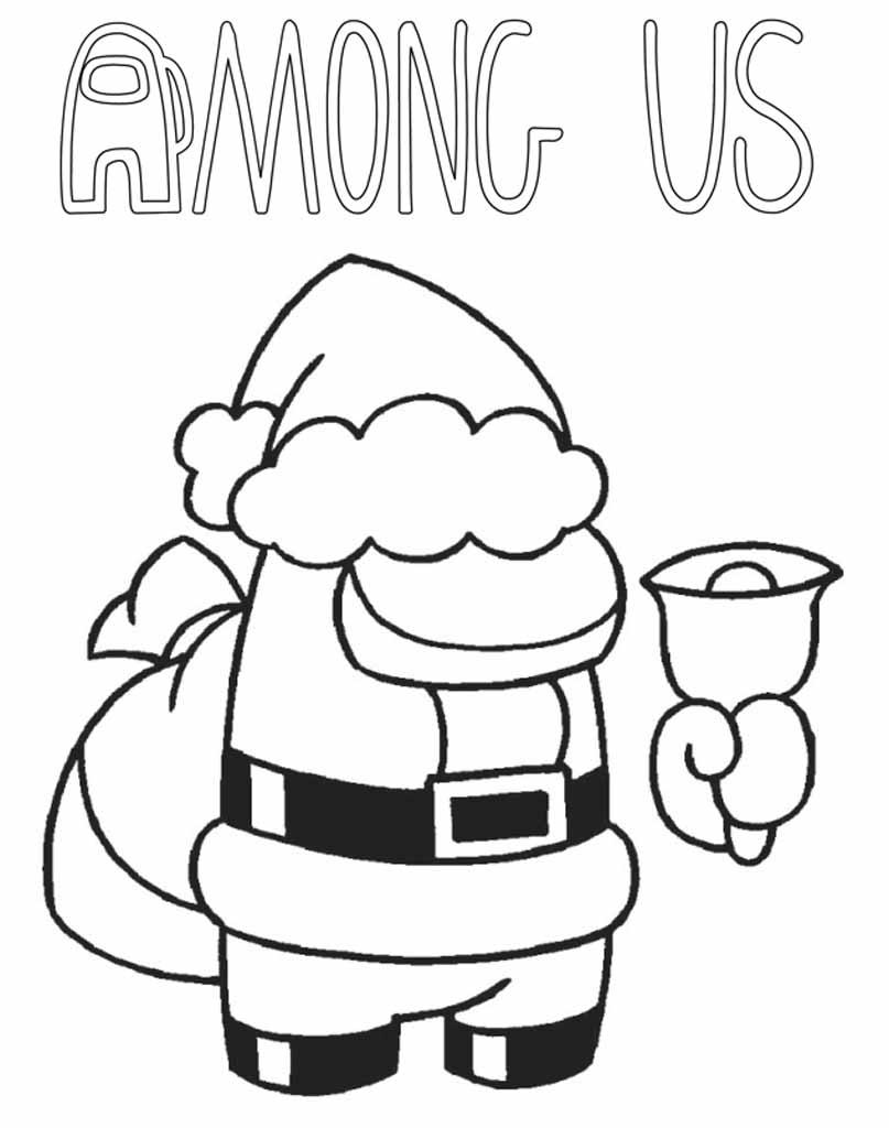 Kolorowanka świąteczna Among Us z mikołajem