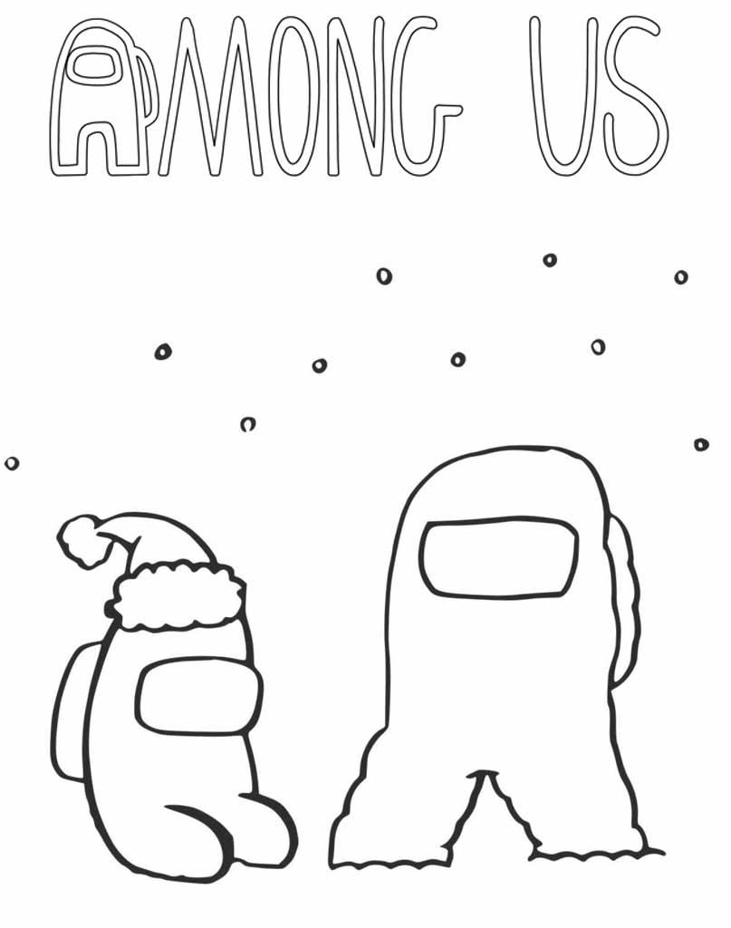 Kolorowanka zimowa Among Us dla dzieci