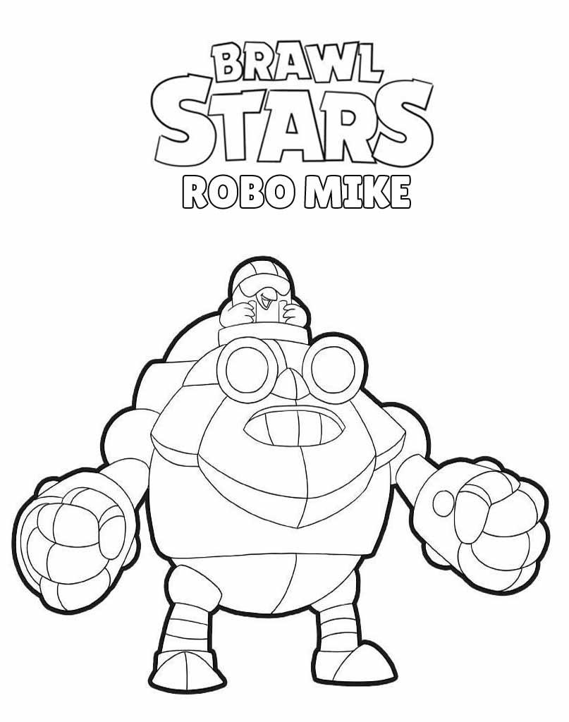 Robo Mike obrazek do kolorowania z Brawl Stars