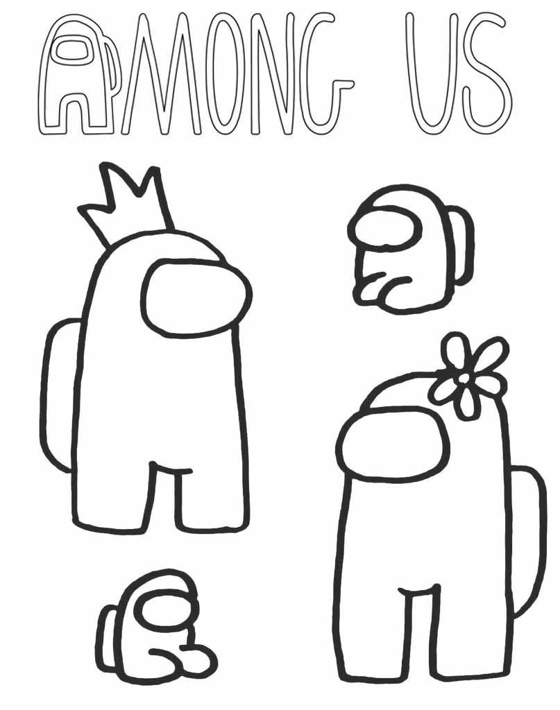 Rodzinka Among Us kolorowanka dla dzieci do druku