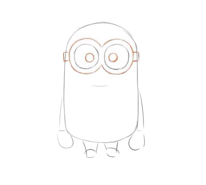4 jak narysować Minionka