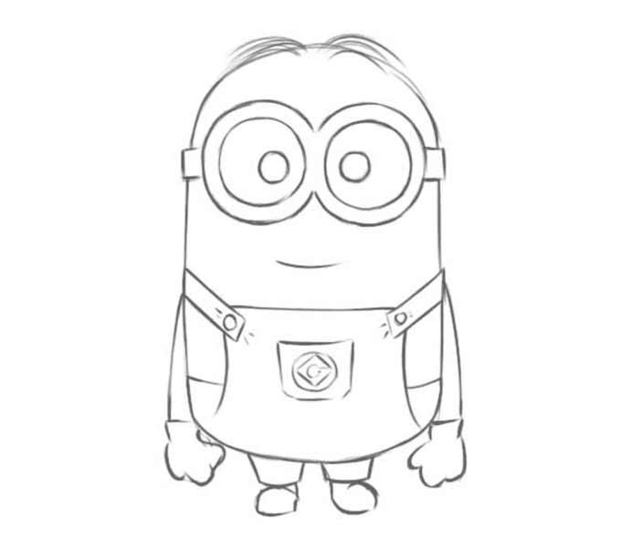 9 jak narysować Minionka